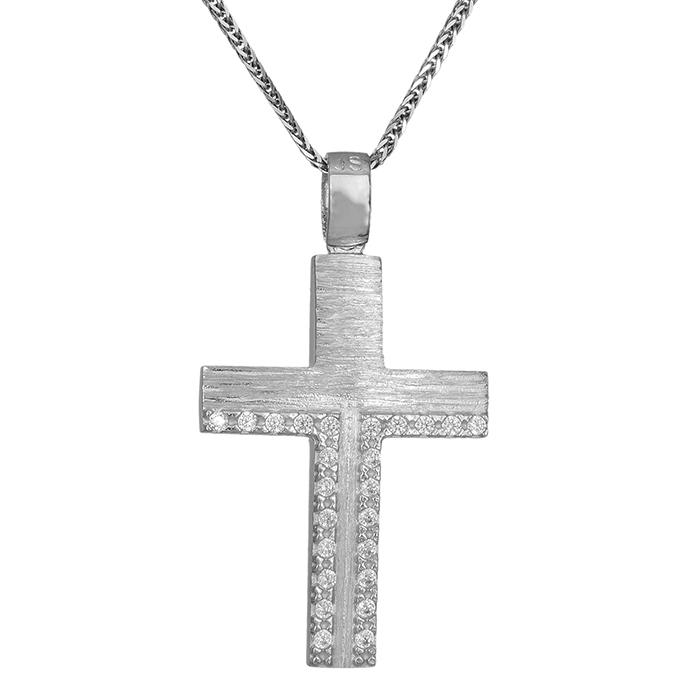 Βαπτιστικοί Σταυροί με Αλυσίδα Βαπτιστικός σταυρός Κ14 λευκόχρυσος με  αλυσίδα 031063C 031063C Γυναικείο Χρυσός 14 Καράτια 4e7d2e5bb3b