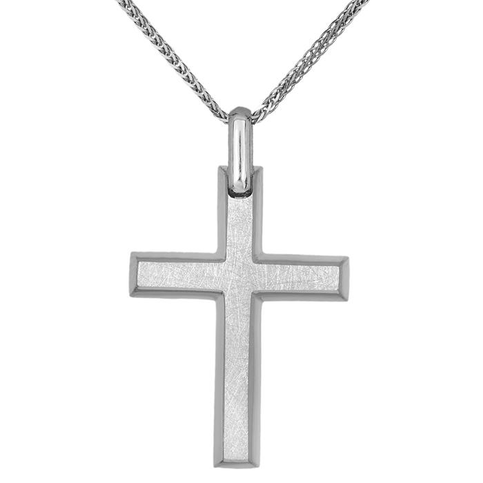 Βαπτιστικοί Σταυροί με Αλυσίδα Ανδρικός σταυρός Κ14 λευκόχρυσος ματ με αλυσίδα 031065C 031065C Ανδρικό Χρυσός 14 Καράτια