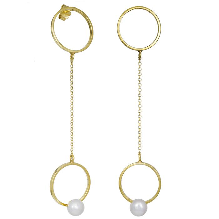 Επίχρυσα σκουλαρίκια με αλυσίδα 925 με μαργαριτάρι 031162 031162 Ασήμι