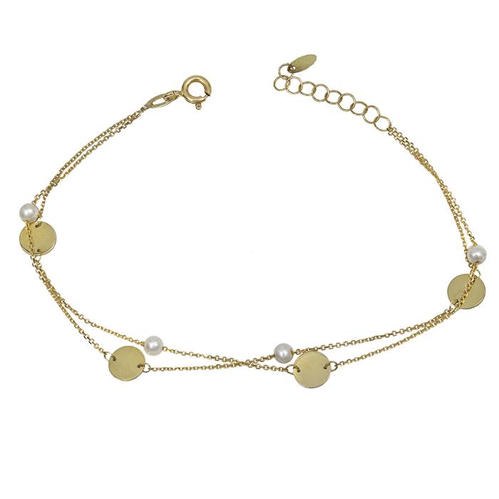 Βραχιόλι χρυσό Κ14 διπλό με μαργαριτάρια 031231 031231 Χρυσός 14 Καράτια