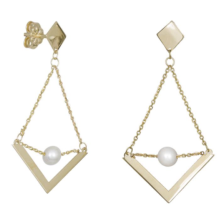 Χρυσά κρεμαστά σκουλαρίκια Κ14 με μαργαριτάρι 031243 031243 Χρυσός 14 Καράτια