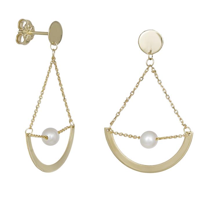 Κρεμαστά χρυσά σκουλαρίκια Κ14 με μαργαριτάρι 031244 031244 Χρυσός 14 Καράτια