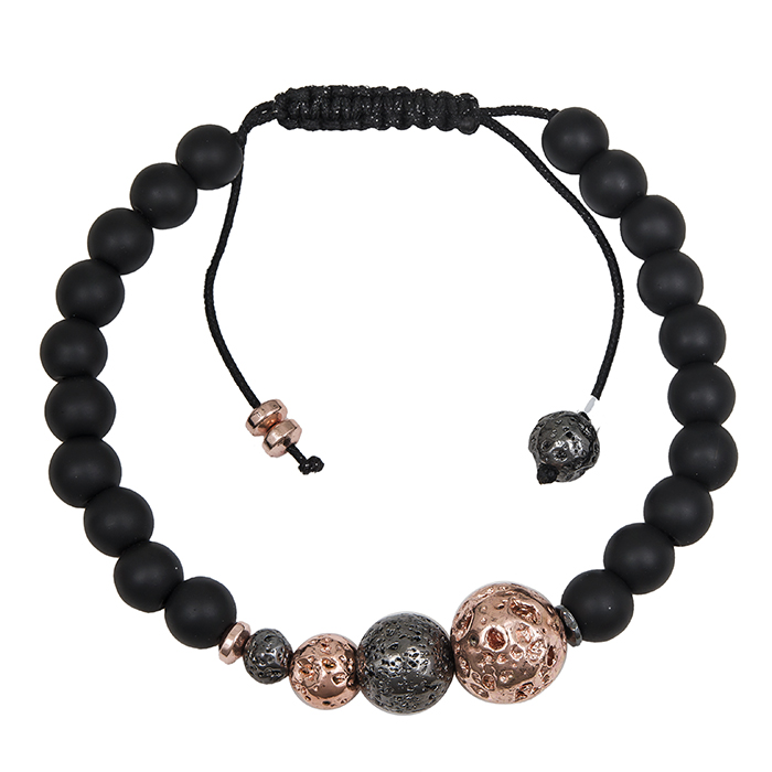 Μακραμέ μαύρο βραχιόλι 925 με ροζ λάβα 031258 031258 Ασήμι