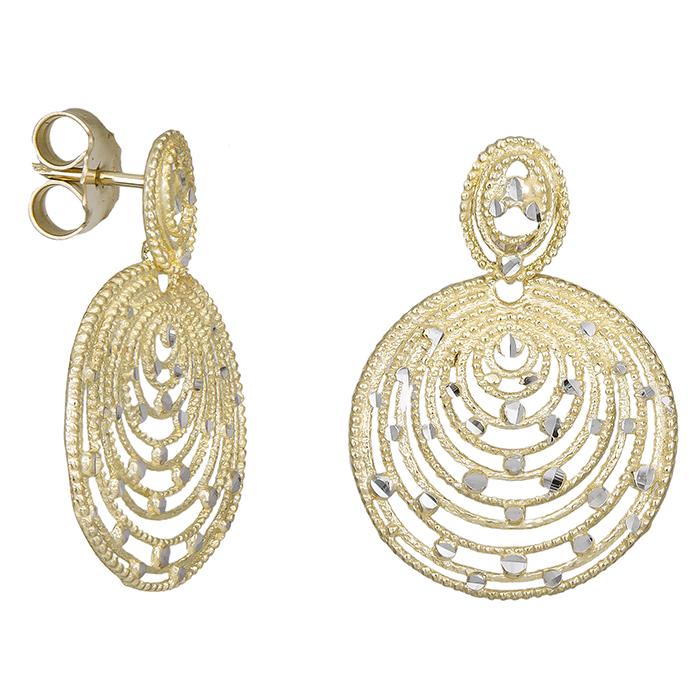 Δίχρωμα διαμανταρισμένα σκουλαρίκια Κ14 031270 031270 Χρυσός 14 Καράτια