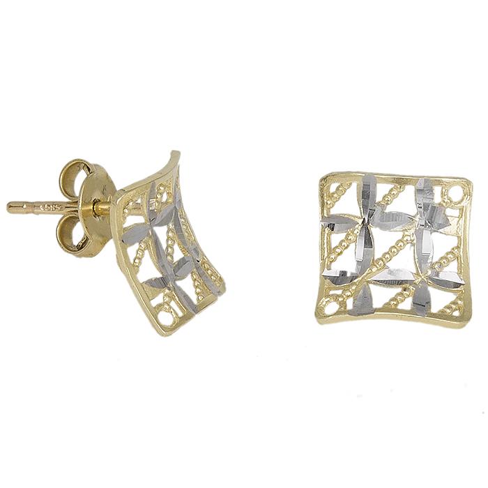 Δίχρωμα τετράγωνα σκουλαρίκια Κ14 διάτρητα 031272 031272 Χρυσός 14 Καράτια
