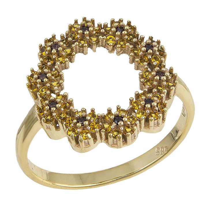 Δαχτυλίδι Κ14 στεφάνι με μωβ πέτρες 031384 031384 Χρυσός 14 Καράτια