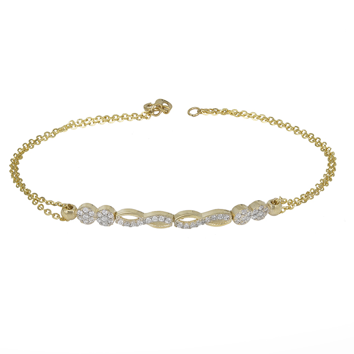 Χρυσό βραχιόλι Κ14 με ζιργκόν πέτρες 031394 031394 Χρυσός 14 Καράτια