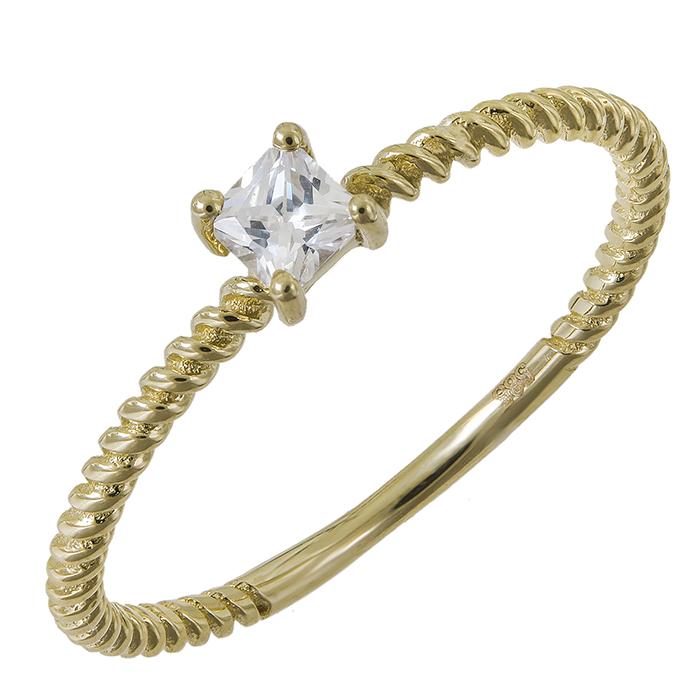 Χρυσό δαχτυλίδι Κ14 πλεκτό μονόπετρο 031515 031515 Χρυσός 14 Καράτια