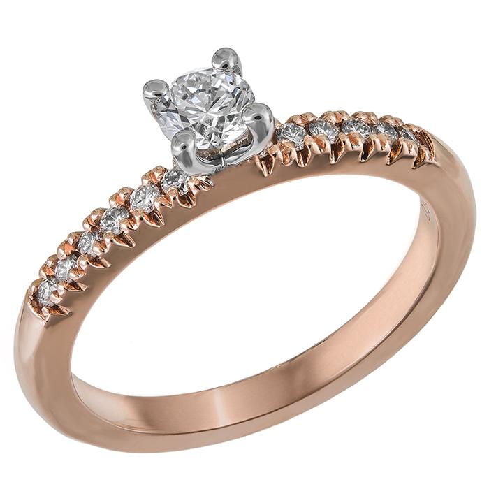 Δίχρωμο μονόπετρο με διαμάντια Κ18 031614 031614 Χρυσός 18 Καράτια