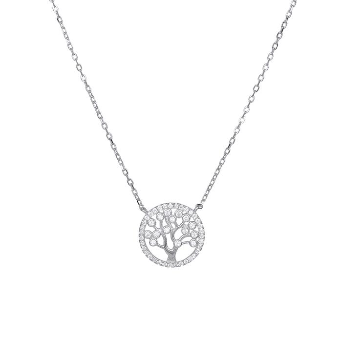 Ασημένιο κολιέ 925 με το δέντρο της ζωής με ζιργκόν πέτρες 031625 031625 Ασήμι