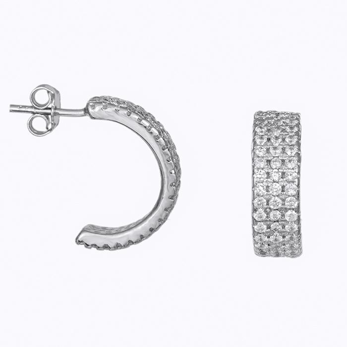 Ασημένια σκουλαρίκια κρίκοι με πέτρες 925 031664 031664 Ασήμι