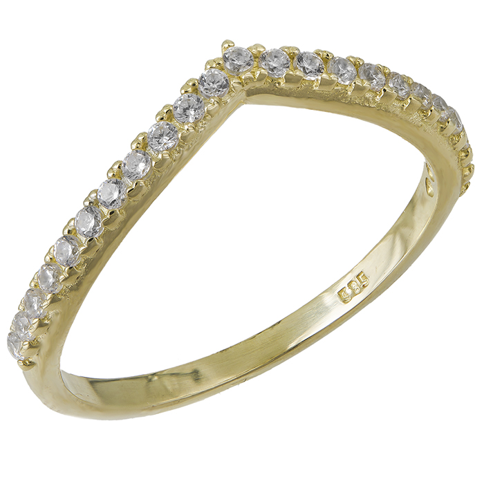 Χρυσό σειρέ δαχτυλίδι Κ14 σε σχήμα V 031693 031693 Χρυσός 14 Καράτια