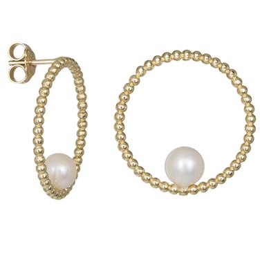 Χρυσά ανάγλυφα σκουλαρίκια Κ14 με μαργαριτάρι 031709 031709 Χρυσός 14 Καράτια