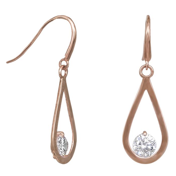 Ροζ gold σκουλαρίκια Κ9 δάκρυ με ζιργκόν πέτρα 031793 031793 Χρυσός 9 Καράτια