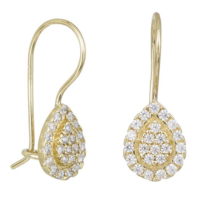 Γυναικεία σκουλαρίκια Κ14 κρεμαστά με ροζέτα δάκρυ 031860 031860 Χρυσός 14 Καράτια
