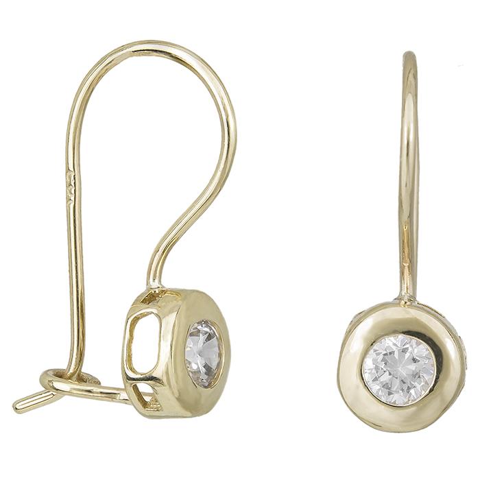 Κρεμαστά σκουλαρίκια Κ14 καστονάκι με ζιργκόν 031861 031861 Χρυσός 14 Καράτια