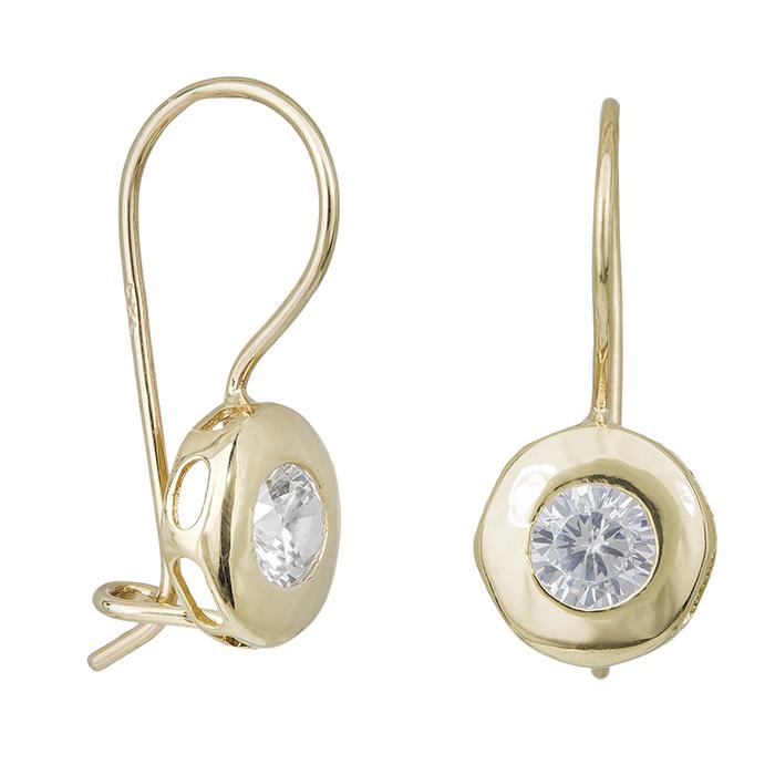 Γυναικεία σκουλαρίκια Κ14 χρυσά με ζιργκόν πέτρα 031863 031863 Χρυσός 14 Καράτια