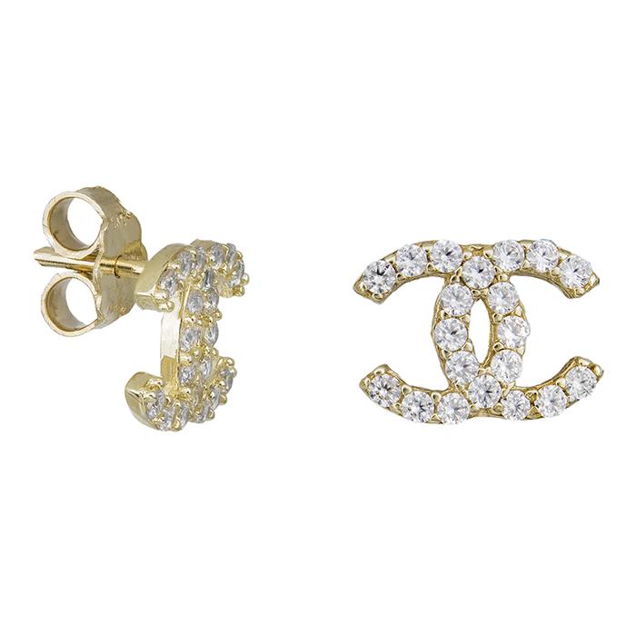 Γυναικεία σκουλαρίκια Κ14 χρυσά με ζιργκόν πέτρες 031867 031867 Χρυσός 14 Καράτια