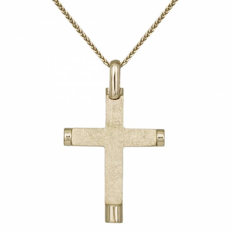 Βαπτιστικοί Σταυροί με Αλυσίδα Ανδρικός Ματ Σταυρός Κ14 με Αλυσίδα 031910C 031910C Ανδρικό Χρυσός 14 Καράτια