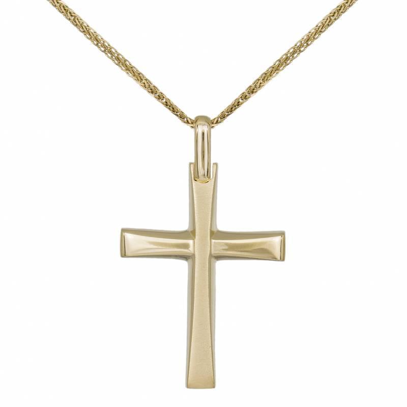 Βαπτιστικοί Σταυροί με Αλυσίδα Ανδρικός Σταυρός Κ14 σε Λιτή Γραμμή με Αλυσίδα 031912C 031912C Ανδρικό Χρυσός 14 Καράτια