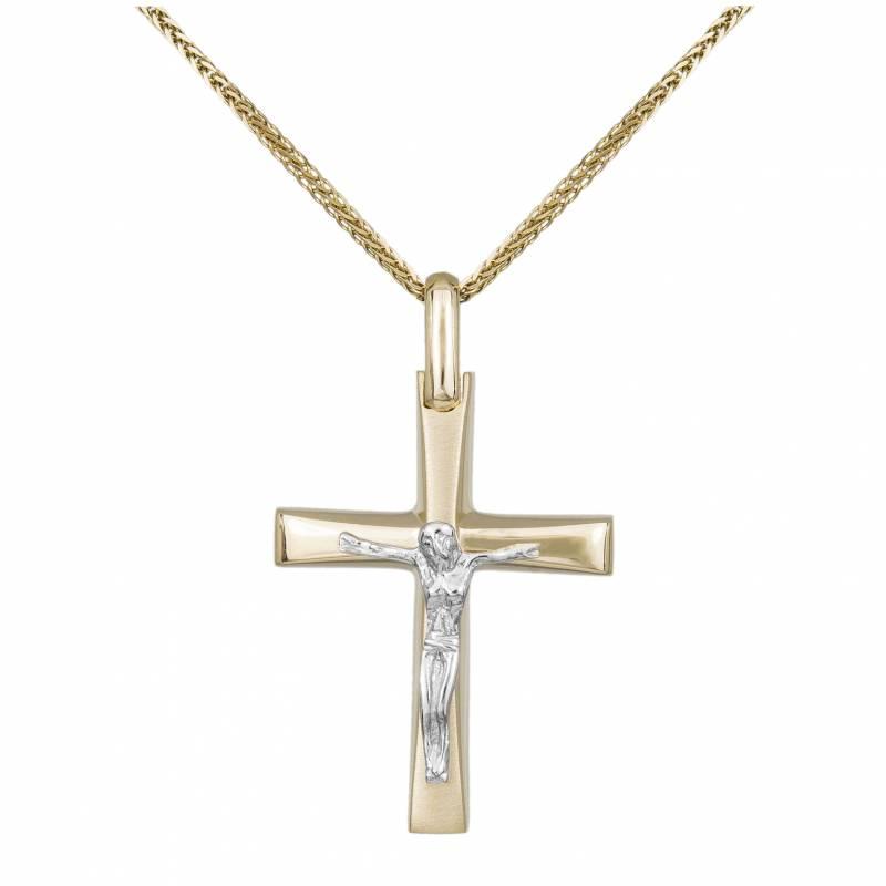 Βαπτιστικοί Σταυροί με Αλυσίδα Ανδρικός σταυρός Κ14 Δίχρωμος με τον Εσταυρωμένο 031914C 031914C Ανδρικό Χρυσός 14 Καράτια