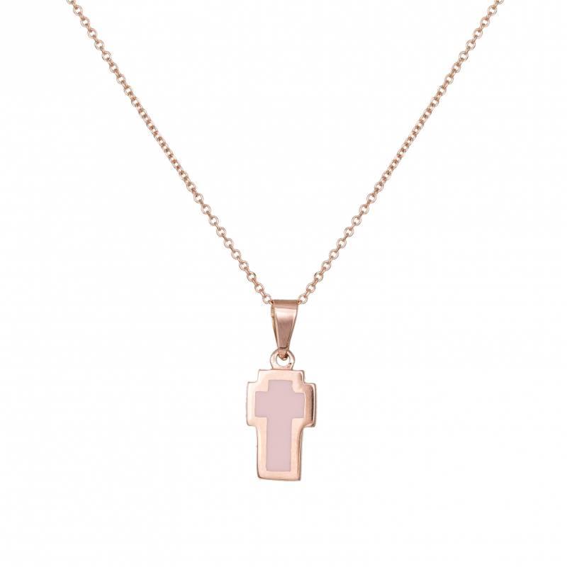 Κολιέ με σταυρουδάκι διπλής όψης σε ροζ gold Κ14 031935 031935 Χρυσός 14 Καράτια