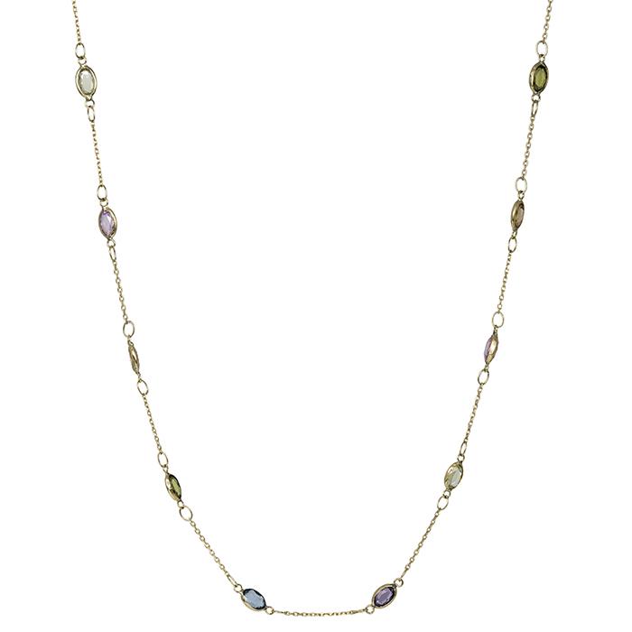 Πολύχρωμο κολιέ Κ9 με ζιργκόν πέτρες 031940 031940 Χρυσός 9 Καράτια
