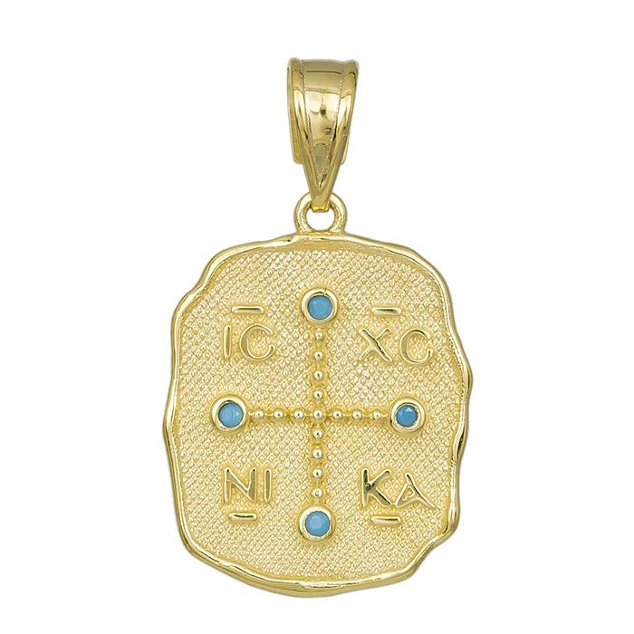 Ανάγλυφο φυλακτό Κ14 με τυρκουάζ πέτρες 031991 031991 Χρυσός 14 Καράτια