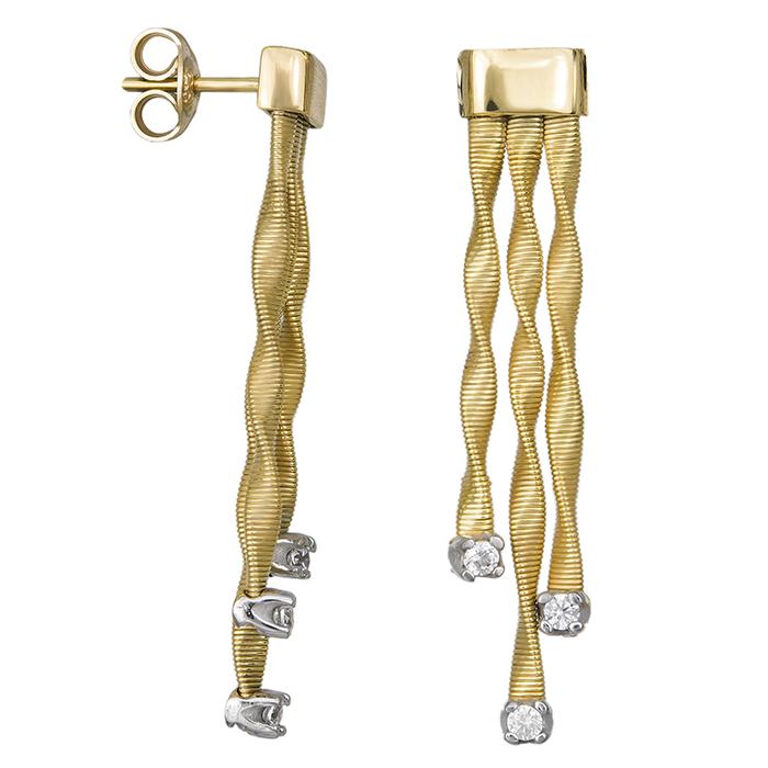 Σκουλαρίκια δίχρωμα Κ14 κυματιστά με ζιργκόν 032018 032018 Χρυσός 14 Καράτια