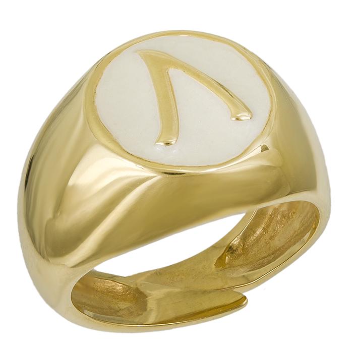Επίχρυσο δαχτυλίδι σεβαλιέ 925 με μονόγραμμα 032035 032035 Ασήμι