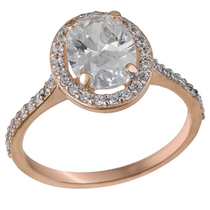 Μονόπετρο δαχτυλίδι Κ14 οβάλ ροζέτα με swarovski 032050 032050 Χρυσός 14 Καράτια