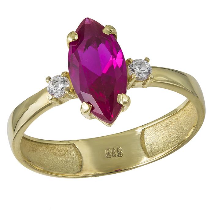 Δαχτυλίδι ναβέτα Κ14 με ροζ ζιργκόν 032056 032056 Χρυσός 14 Καράτια
