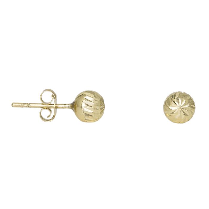 Χρυσά ανάγλυφα σκουλαρίκια Κ14 μπίλιες 032114 032114 Χρυσός 14 Καράτια