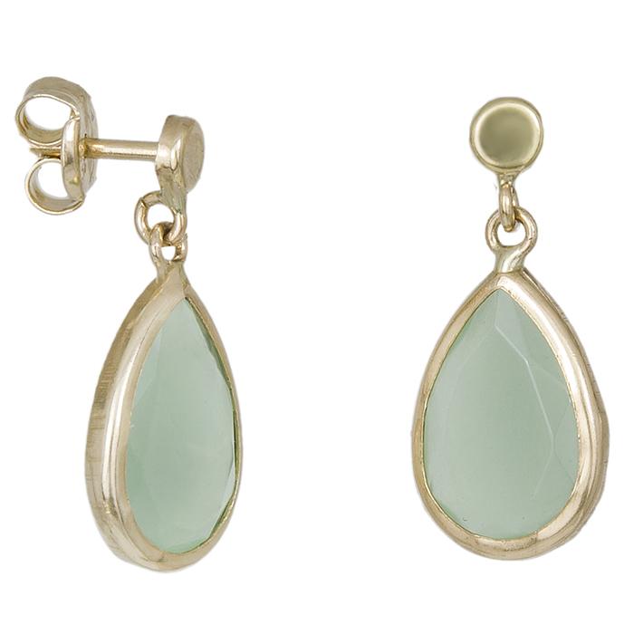 Γυναικεία σκουλαρίκια Κ14 δάκρυ με πράσινη ζιργκόν 032166 032166 Χρυσός 14 Καράτια