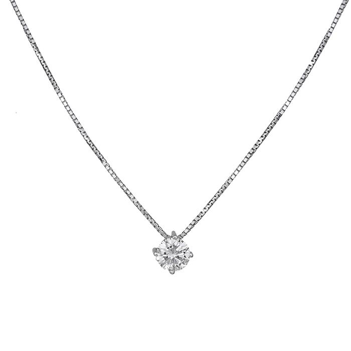 Λευκόχρυσο κολιέ Κ18 με διαμάντι κοπής μπριγιάν 032235 032235 Χρυσός 18 Καράτια