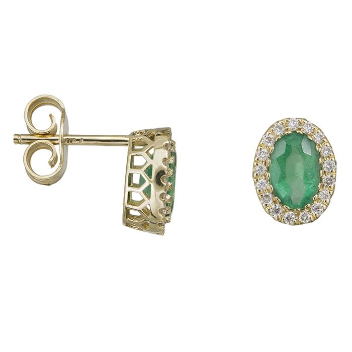 Χρυσά σκουλαρίκια Κ18 με μπριγιάν και σμαράγδι 032288 032288 Χρυσός 18 Καράτια