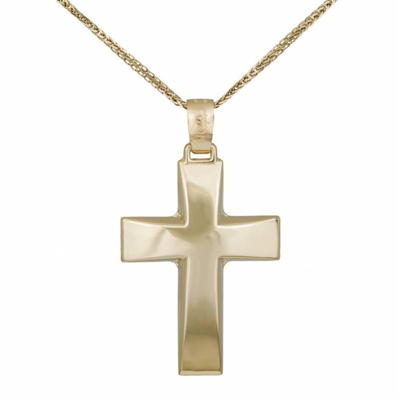 Βαπτιστικοί Σταυροί με Αλυσίδα Ανδρικός Σταυρός Λουστρέ Κ14 με Αλυσίδα 032378C 032378C Ανδρικό Χρυσός 14 Καράτια