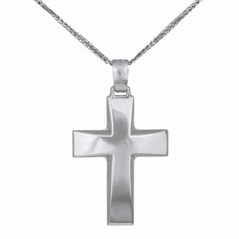Βαπτιστικοί Σταυροί με Αλυσίδα Ανδρικός Λευκόχρυσος Σταυρός Λουστρέ Κ14 με Αλυσίδα 032379C 032379C Ανδρικό Χρυσός 14 Καράτια