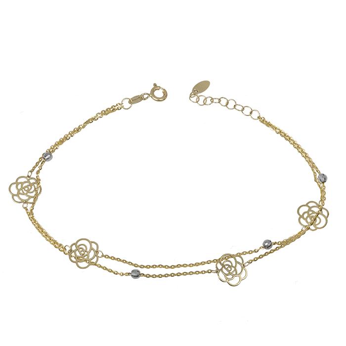 Βραχιόλι διπλό Κ14 με λουλούδια και λευκόχρυσες μπίλιες 032520 032520 Χρυσός 14 Καράτια