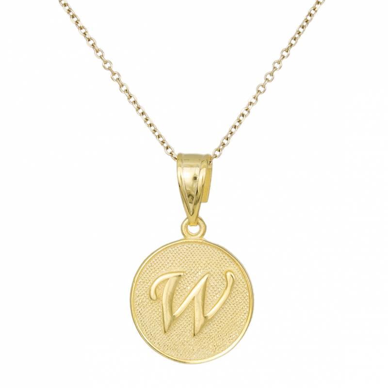Γυναικείο Κολιέ Κ9 Άπετρο με Μονόγραμμα W 032562 032562 Χρυσός 9 Καράτια