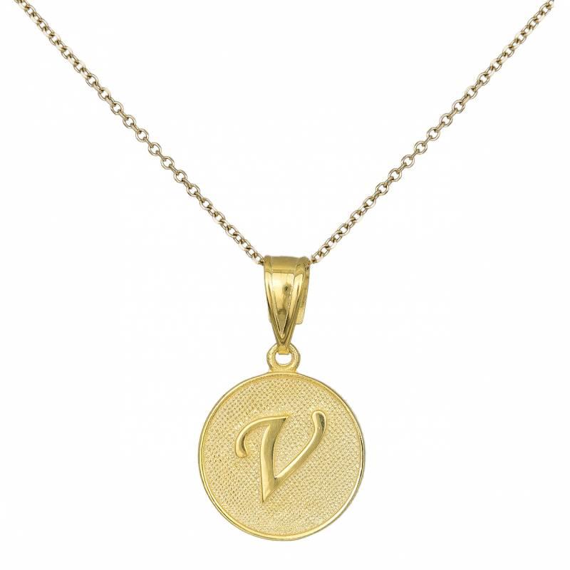 Γυναικείο Κολιέ Κ9 Άπετρο με Λατινικό Χαρακτήρα V 032563 032563 Χρυσός 9 Καράτια