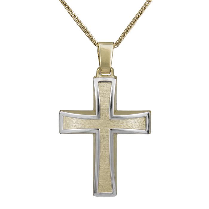 Βαπτιστικοί Σταυροί με Αλυσίδα Ανδρικός Σταυρός με 2 Όψεις και Αλυσίδα 032883C 032883C Ανδρικό Χρυσός 14 Καράτια