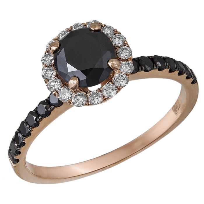 Ροζέτα δαχτυλίδι με μαύρα και λευκά διαμάντια Κ18 032934 032934 Χρυσός 18 Καράτια