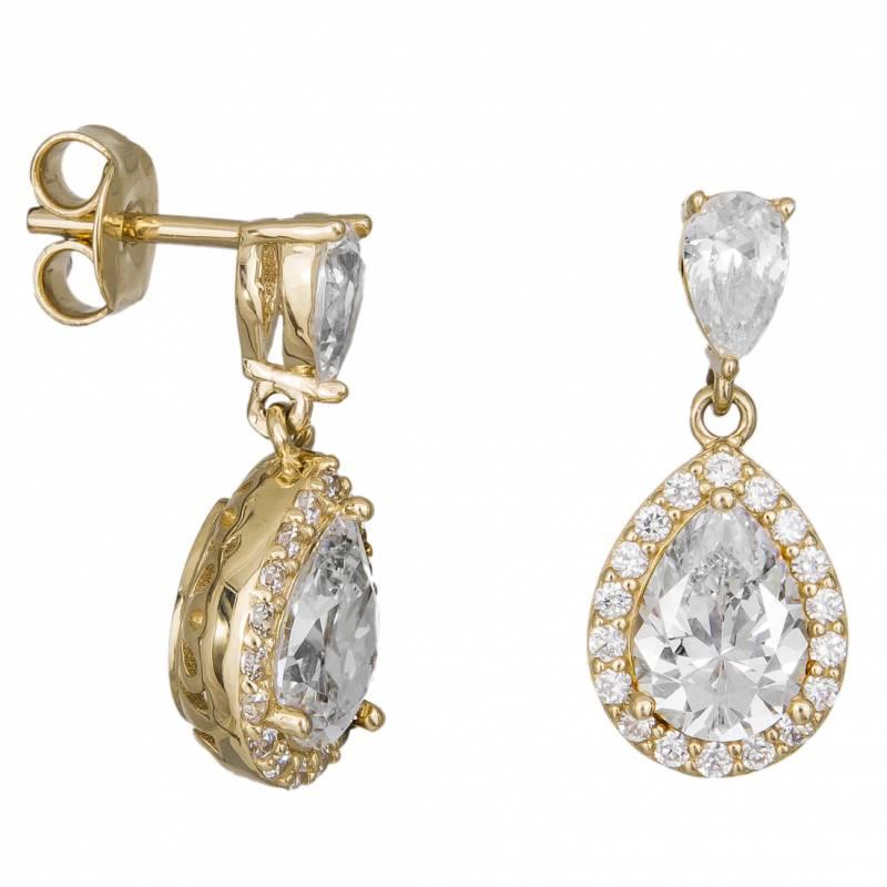 Γυναικεία Σκουλαρίκια Κ14 Ροζέτα Δάκρυ 033016 033016 Χρυσός 14 Καράτια