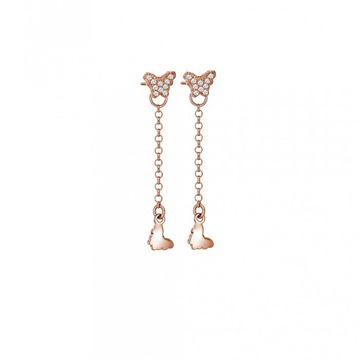 Γυναικεία σκουλαρίκια Vogue 925 Pink Gold Butterflies 0330202 0330202 Ασήμι