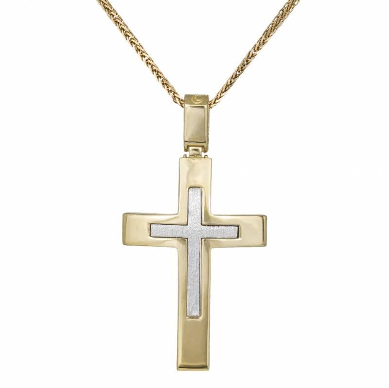 Βαπτιστικοί Σταυροί με Αλυσίδα Αντρικός σταυρός διπλής όψης Κ14 033244C 033244C Ανδρικό Χρυσός 14 Καράτια