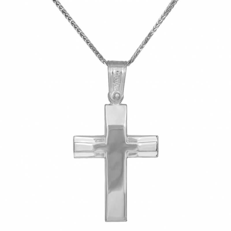 Βαπτιστικοί Σταυροί με Αλυσίδα Σταυρός διπλής όψης για αγόρι σε λευκόχρυσο Κ14 με αλυσίδα 033317C 033317C Ανδρικό Χρυσός 14 Καράτια