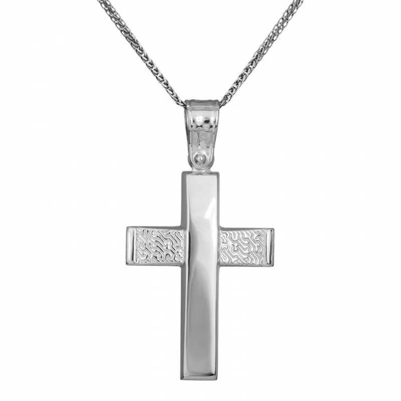 Βαπτιστικοί Σταυροί με Αλυσίδα Ανδρικός λευκόχρυσος σταυρός αρραβώνα Κ14 με αλυσίδα 033318C 033318C Ανδρικό Χρυσός 14 Καράτια