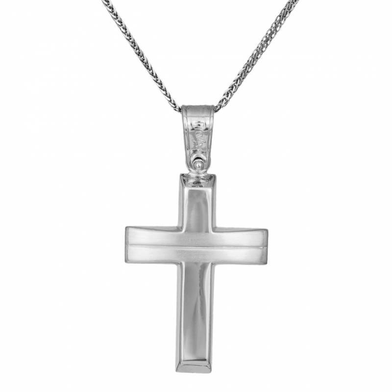 Βαπτιστικοί Σταυροί με Αλυσίδα Λευκόχρυσος Σταυρός 14Κ με Διακοσμητική Γραμμή και Αλυσίδα 033319C 033319C Ανδρικό Χρυσός 14 Καράτια