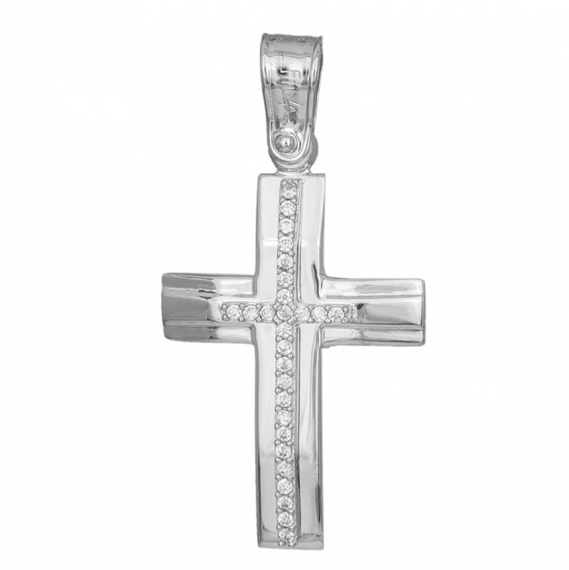 Σταυροί Βάπτισης - Αρραβώνα Γυναικείος σταυρός αρραβώνα σε λευκόχρυσο Κ14 με ζιργκόν 033335 033335 Γυναικείο Χρυσός 14 Καράτια